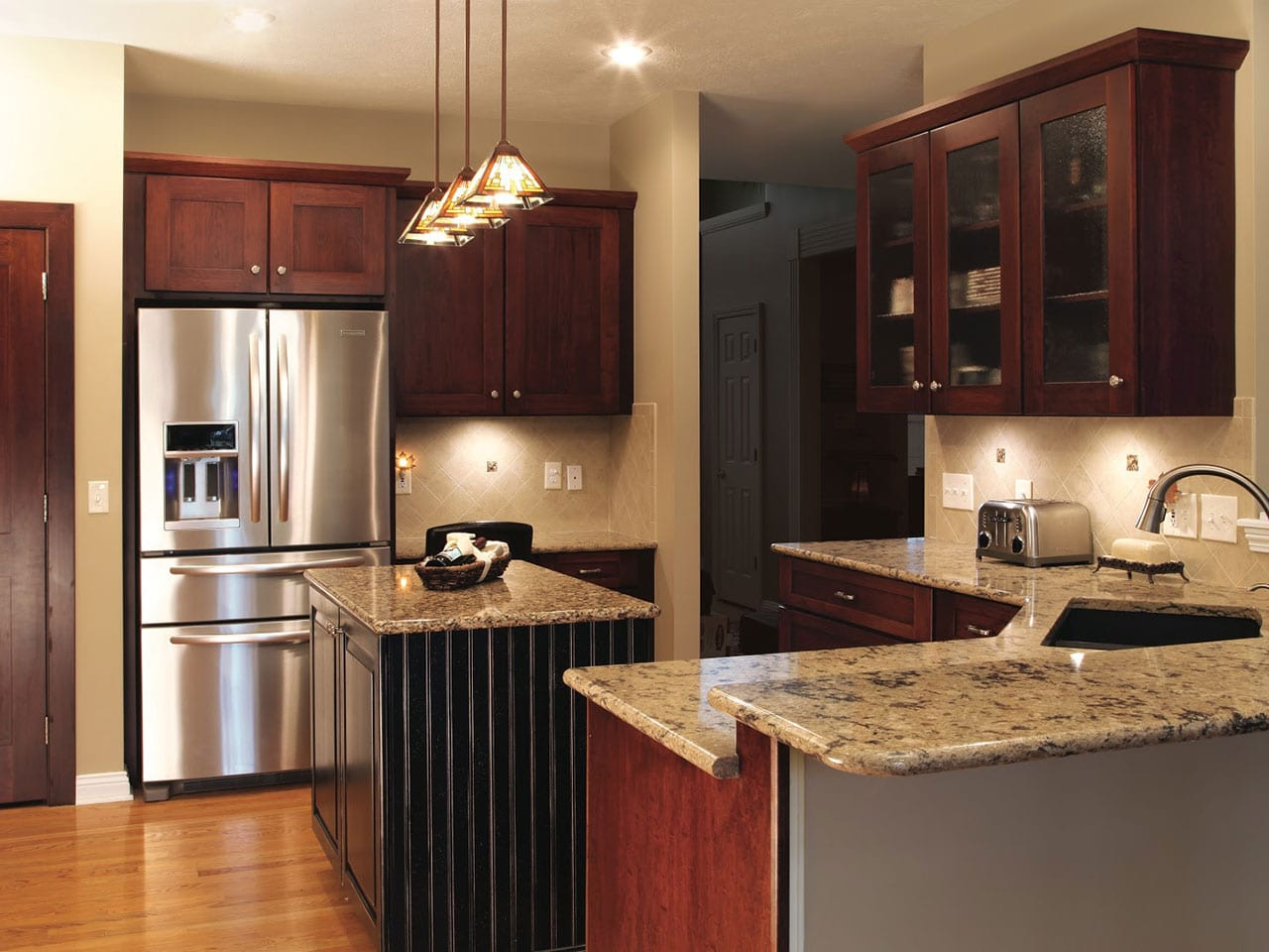 a picture of the kitchen in LaRose after refacing project