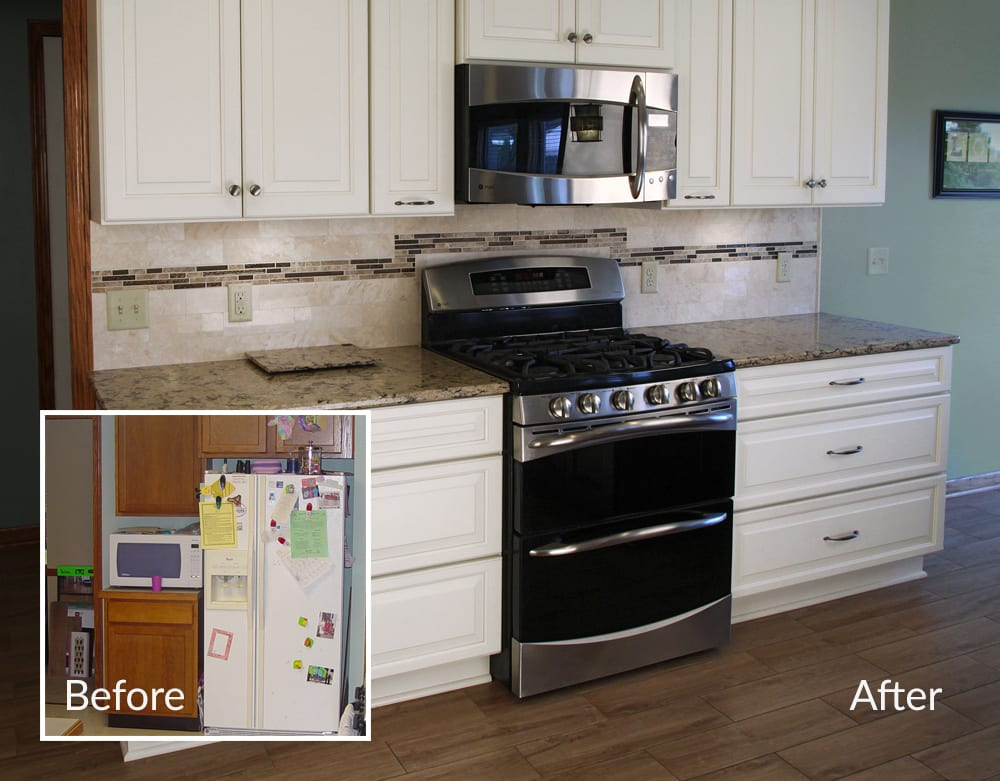 Kitchen transformation with microwave mounted above stove