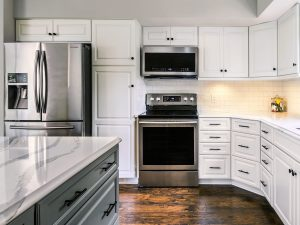 Traditional white and gray kitchen transformation
