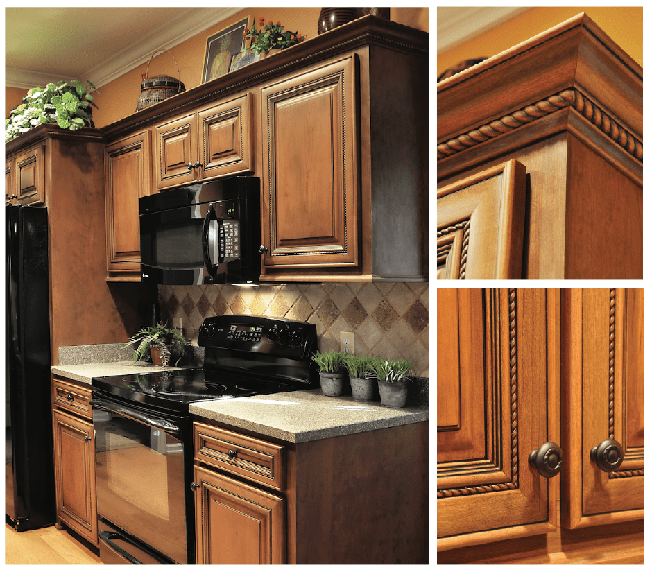Kitchen upgrade with solid wood cabinets in select cherry wood