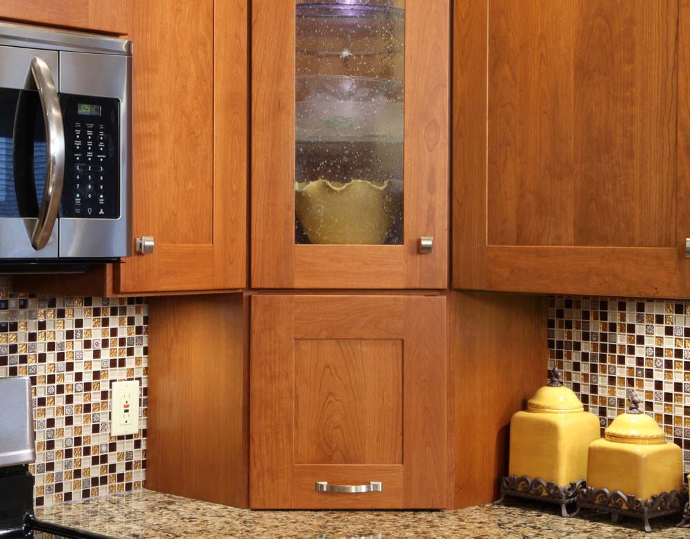Select grade cherry wood cabinets installed by American Wood Reface