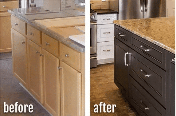 before and after picture of a brown kitchen cabinet